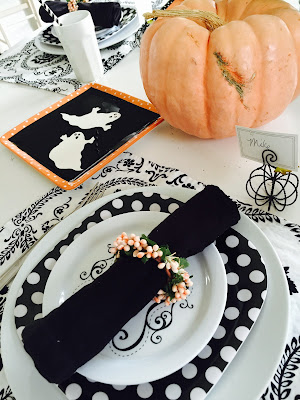 Peach Black and White Halloween Tablescape, Peach Pumpkins, Pioneer Woman Cake Stand, Black and White Poka dot plates