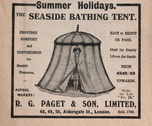 Vintage advertisement for a seaside bathing tent