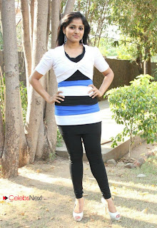 Tamil Actress Santhini Pictures in Black Leggings at 555 Movie Press Meet  0042