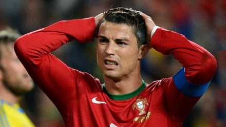 Cristiano Ronaldo in 2014 football world cup disappointed