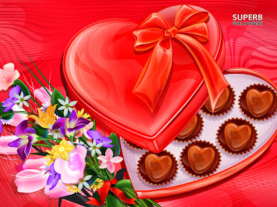 Chocolates and flowers computer wallpaper