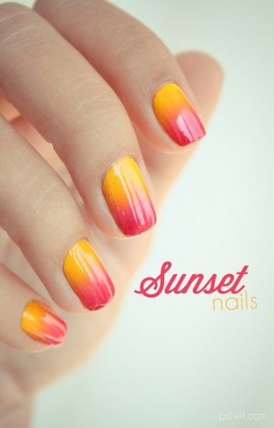 ombré nails sunset uñas degradado