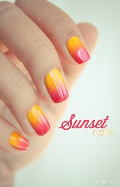 ombré nails sunset uñas degradado