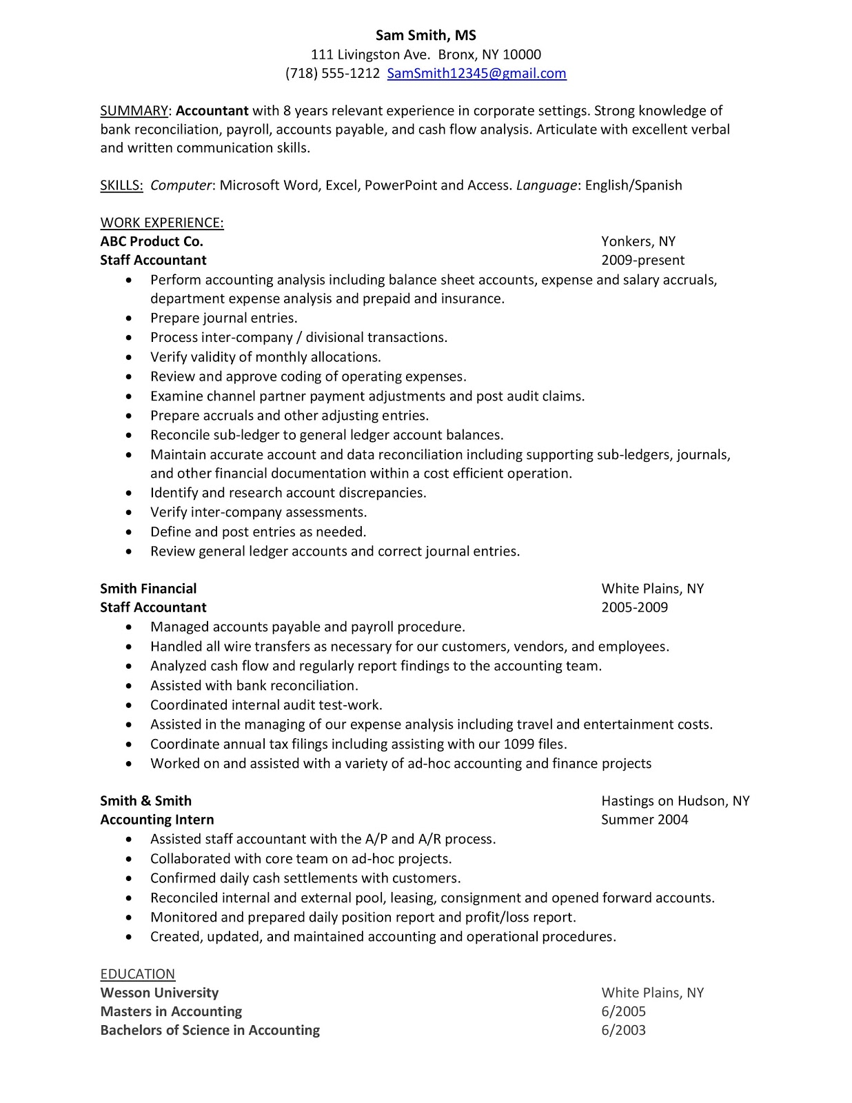 sample resume staff accountant