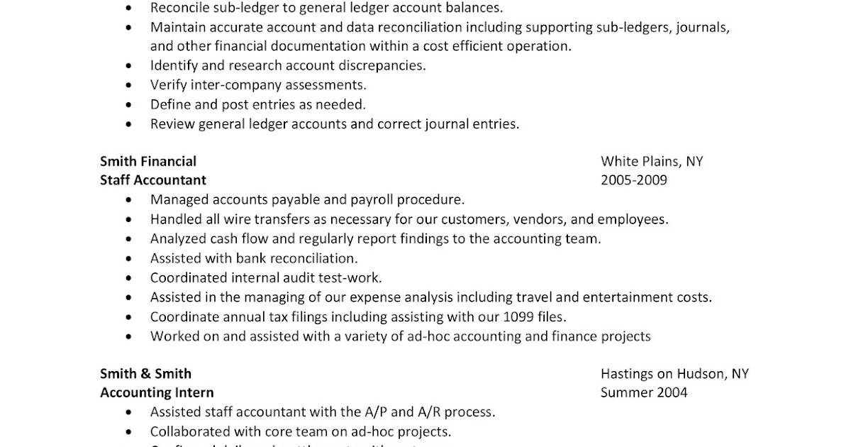 Career Advice & Pro Wrestling Business : Sample Resume: Staff Accountant
