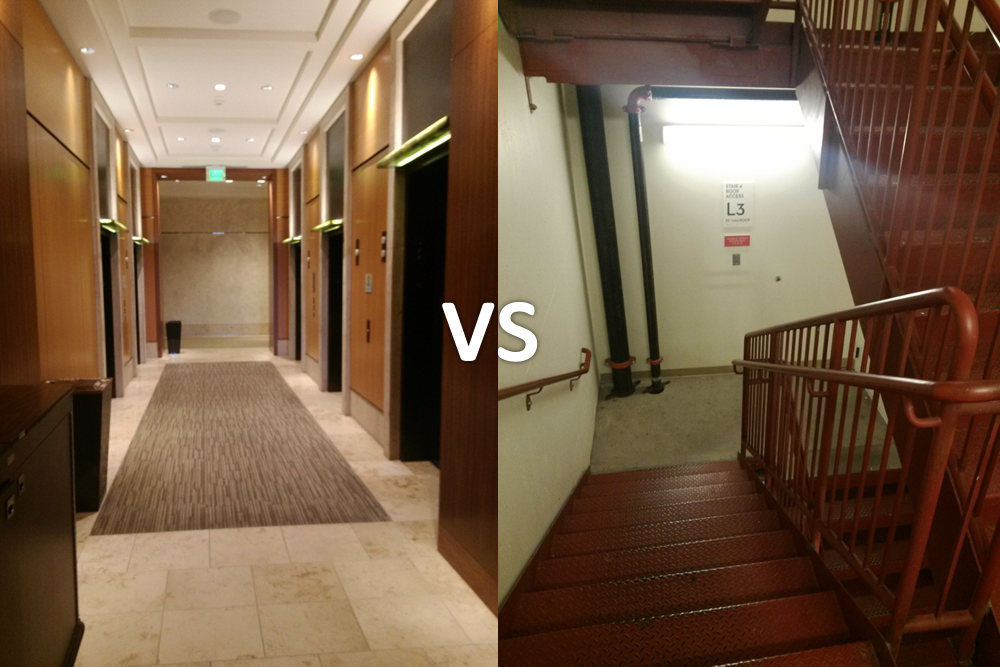 Elevator vs. stairs