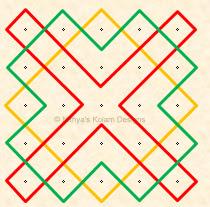 Kolam 36: Apartment Kolam  Dots 5 x 5