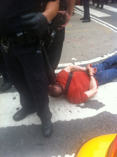 Activist Arrested at Union Square, Army police with nets at Union Square