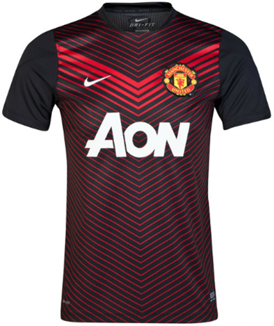 Baju Bola -  Nike Manchester United Squad Short Sleeve Pre-Match Top - Replica Clothing - Black-Red 2014