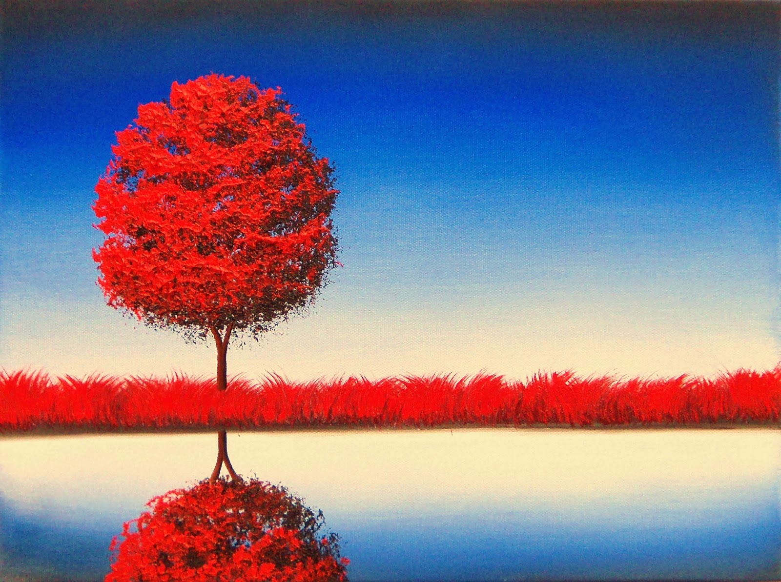 red tree painting landscape painting canvas art 12 x 16 original