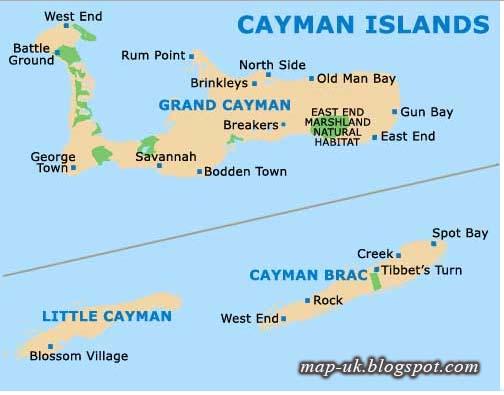 Map of UK Cayman Islands Map Region Political Information
