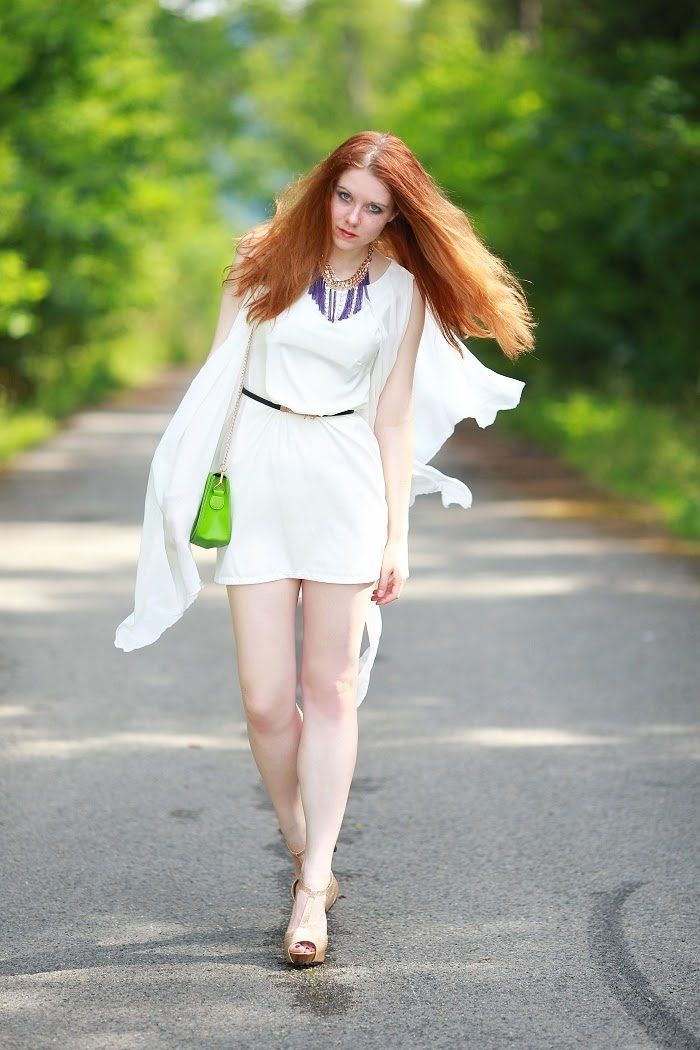 ginger hair, frecles, pale skin, white dress, beauty