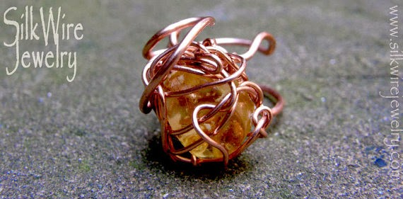 amber ring of wire by SilkWire Jewelry