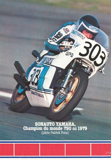 racing caf sonauto yamaha patrick pons champion du monde 750 cc 1979 1980. Black Bedroom Furniture Sets. Home Design Ideas