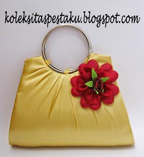 Tas Pesta Gold Bunga Maroon Cantik Unik Elegant