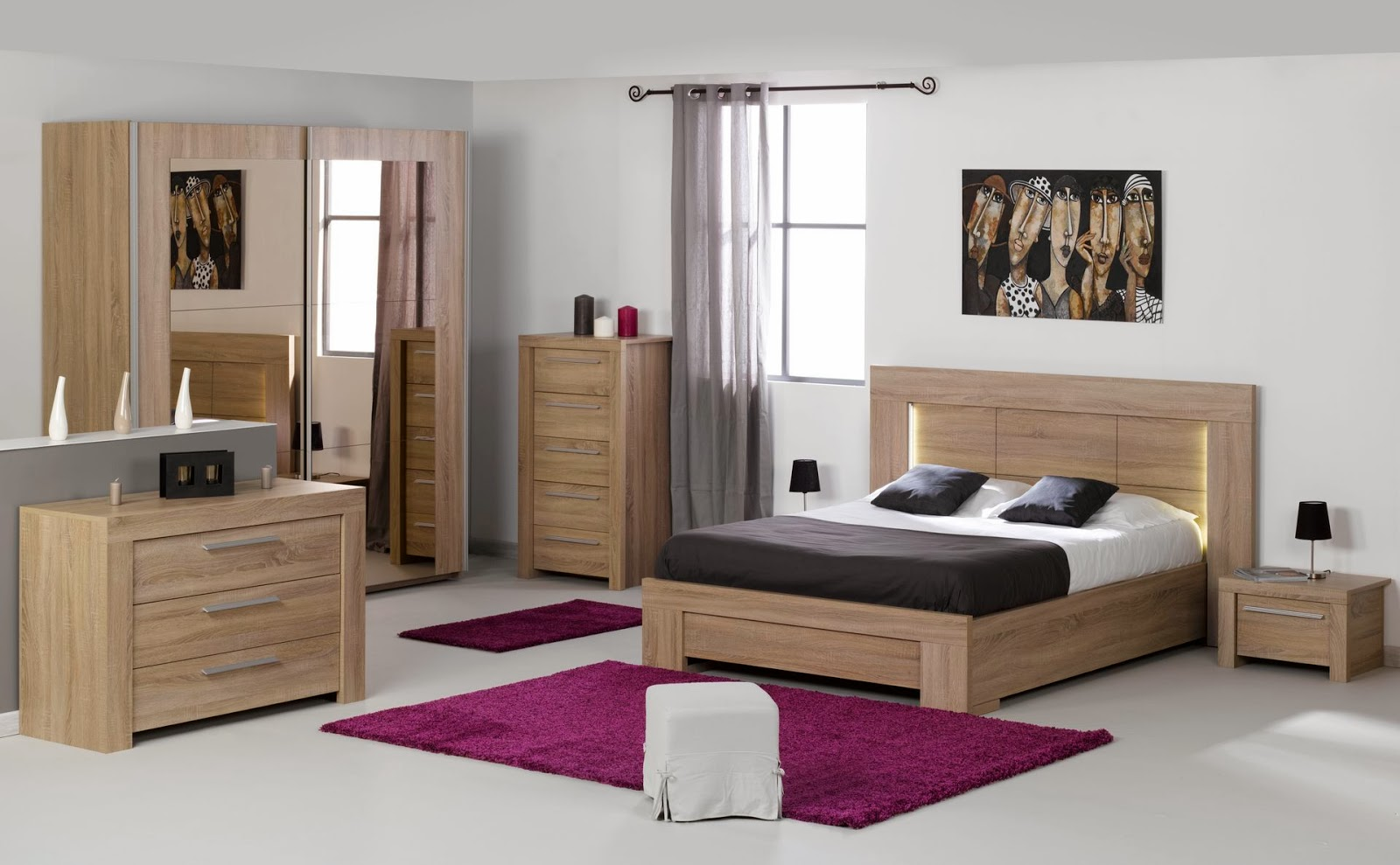 chambre a coucher en bois moderne. Black Bedroom Furniture Sets. Home Design Ideas