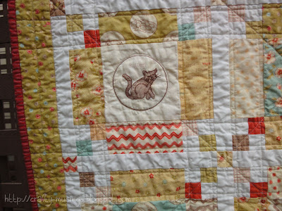 Whimsy, quilting detail plus binding view