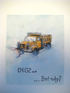 watercolor painting, sleeping, woken up, snow plow