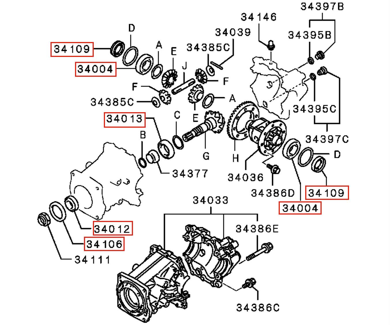 mitsubishi outlander 2004 замена подшипника дифференциала