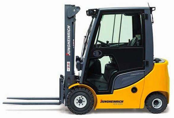 Forklift Jungheinrich dengan Corak Warna Oranye