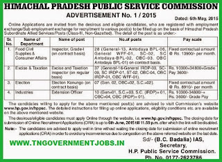Himachal Pradesh Public Service Commission (HPPSC) Recruitments (www.tngovernmentjobs.in)