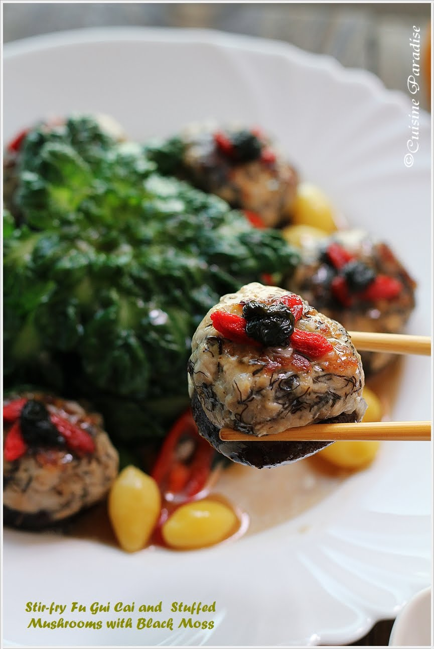 Cuisine paradise singapore food blog recipes reviews and stir fry fu gui cai and stuffed mushrooms with black moss glutinous rice wine chicken forumfinder Images