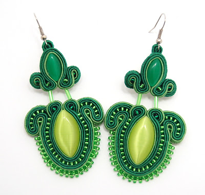 kolczyki sutasz soutache earrings 46 green energy