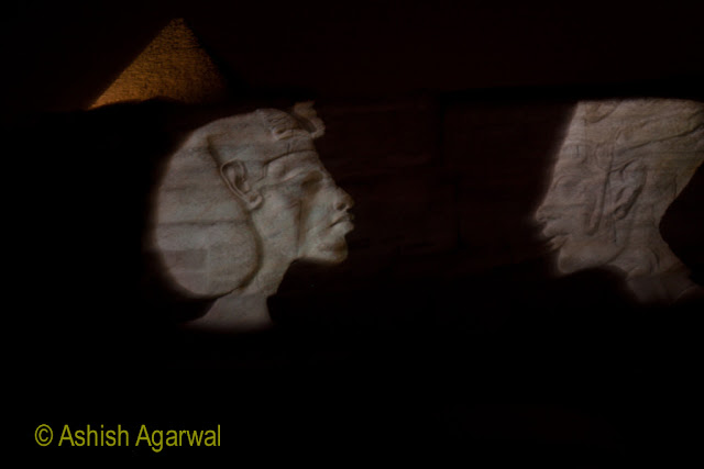 Depiction of the various famous symbols of ancient Egypt as part of the Sound and Light show
