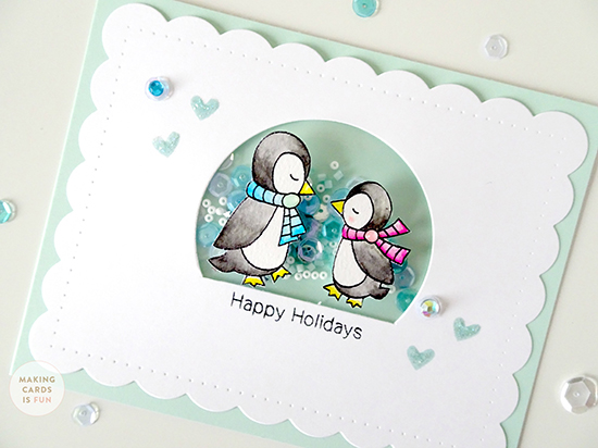 Penguin Card by Special Guest Laura Sterckx | Holiday Smooches Stamp set by Newton's Nook Designs #newtonsnook