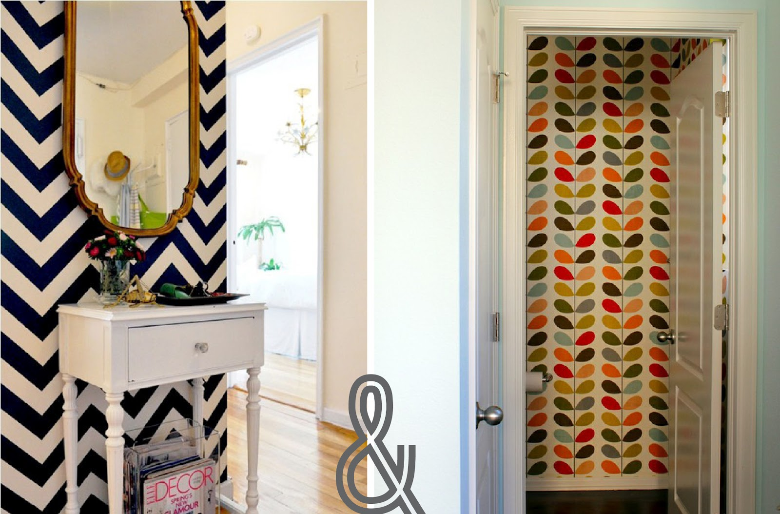 Im Loving Wallpaper More And Especially These Bright Bold Patterns What A Great Way To Jazz Up Small Bathroom