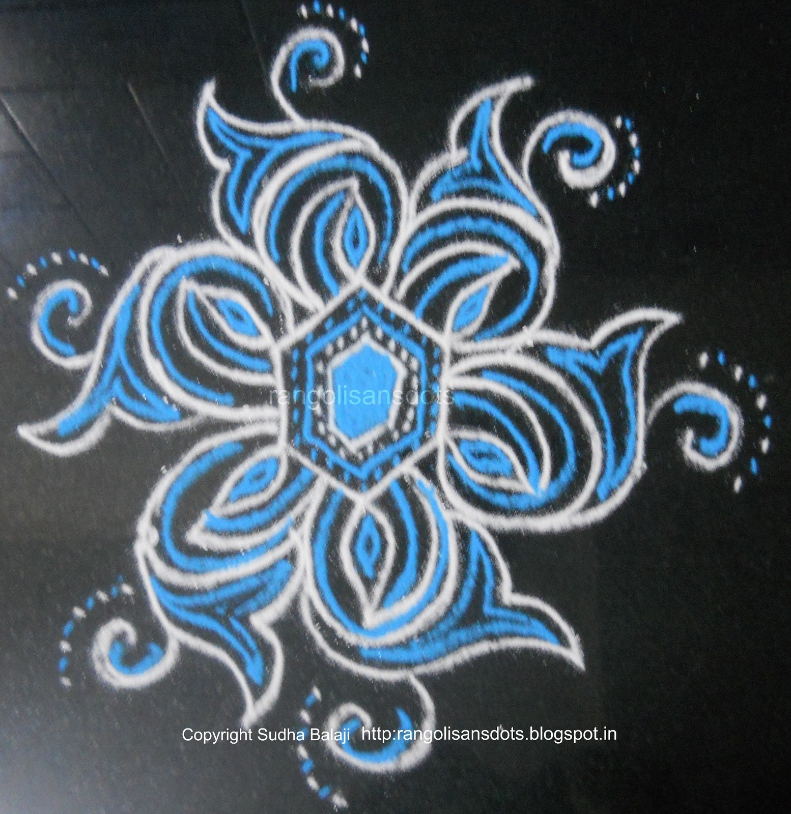 Rangoli with two colours