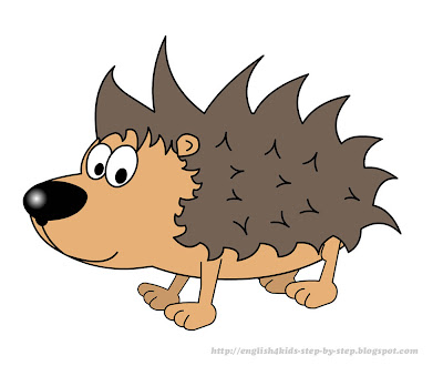 cute cartoon hedgehog clip art for learning english
