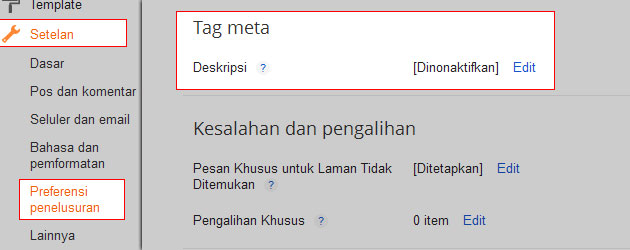 Mengaktifkan Meta Description