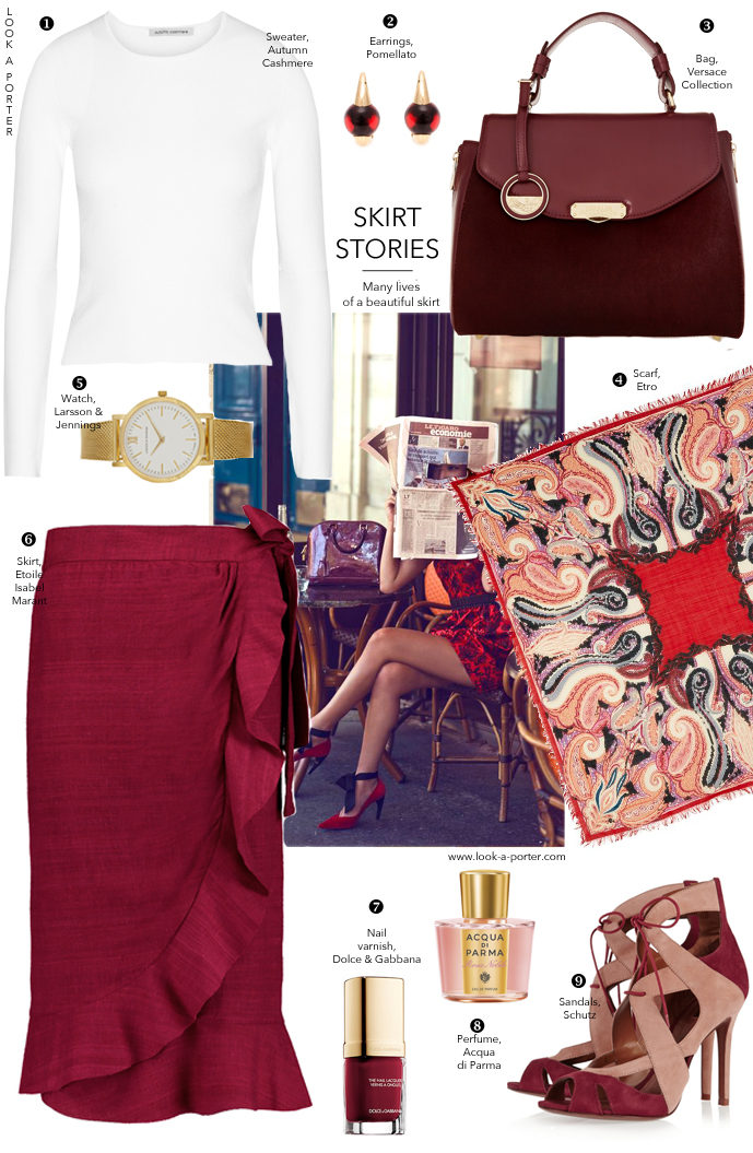 Styling a beautiful burgundy midi skirt by Isabel Marant for a day look. Outfit inspirations / what to wear to work / workwear outfits / office outfits / how to style / isabel marant, schutz, versace, dolce & gabbana, etro. Via look-a-porter.com / style and fashion blog