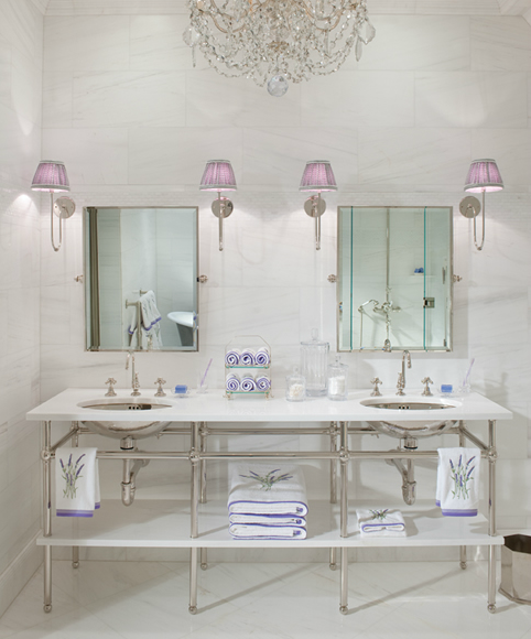 Midnight in paris lavender white belclaire house - Lavender and white bathroom ...