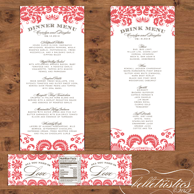 elegant coral damask diy printable wedding menu water label design