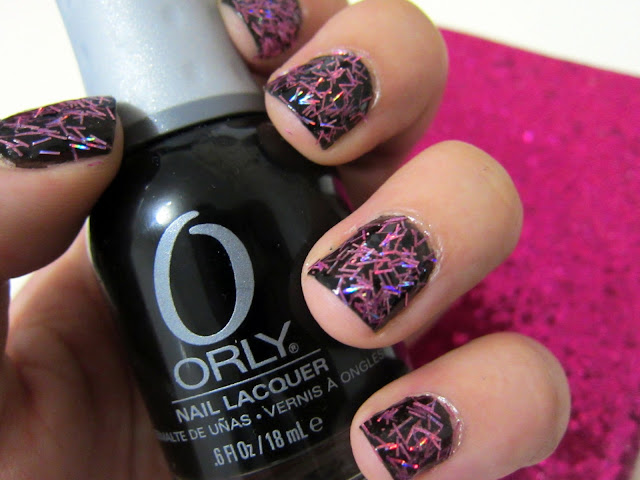 Orly Nail Lacquer in Liquid Vinyl (Black base colour) and Orley Nail Lacquer in Be Brave (Glitter strips)