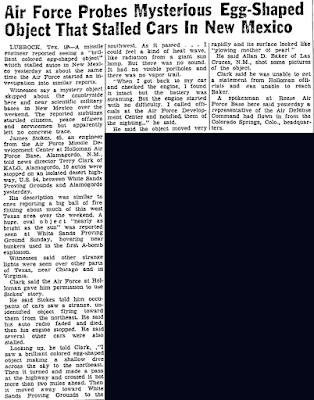 Air Force Probes Mysterious Egg-Shaped Object - Ocala Star-Banner 11-5-1957