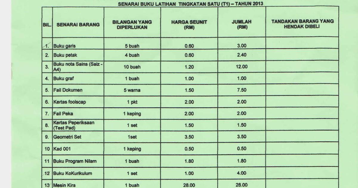 Smk Tanjong Bunga Senarai Buku Latihan Tingkatan T1 Tahun 2013