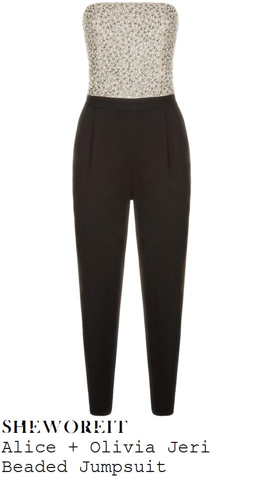 lauren-murray-metallic-cream-black-strapless-embellished-jumpsuit-x-factor