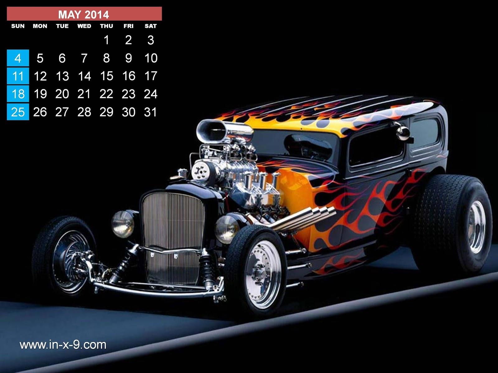 2014 Hot Rods Calendar - Design 1 - free 2014 calendar - 2014 calendar