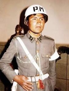 Evo Morales. soldado en Policía Militar