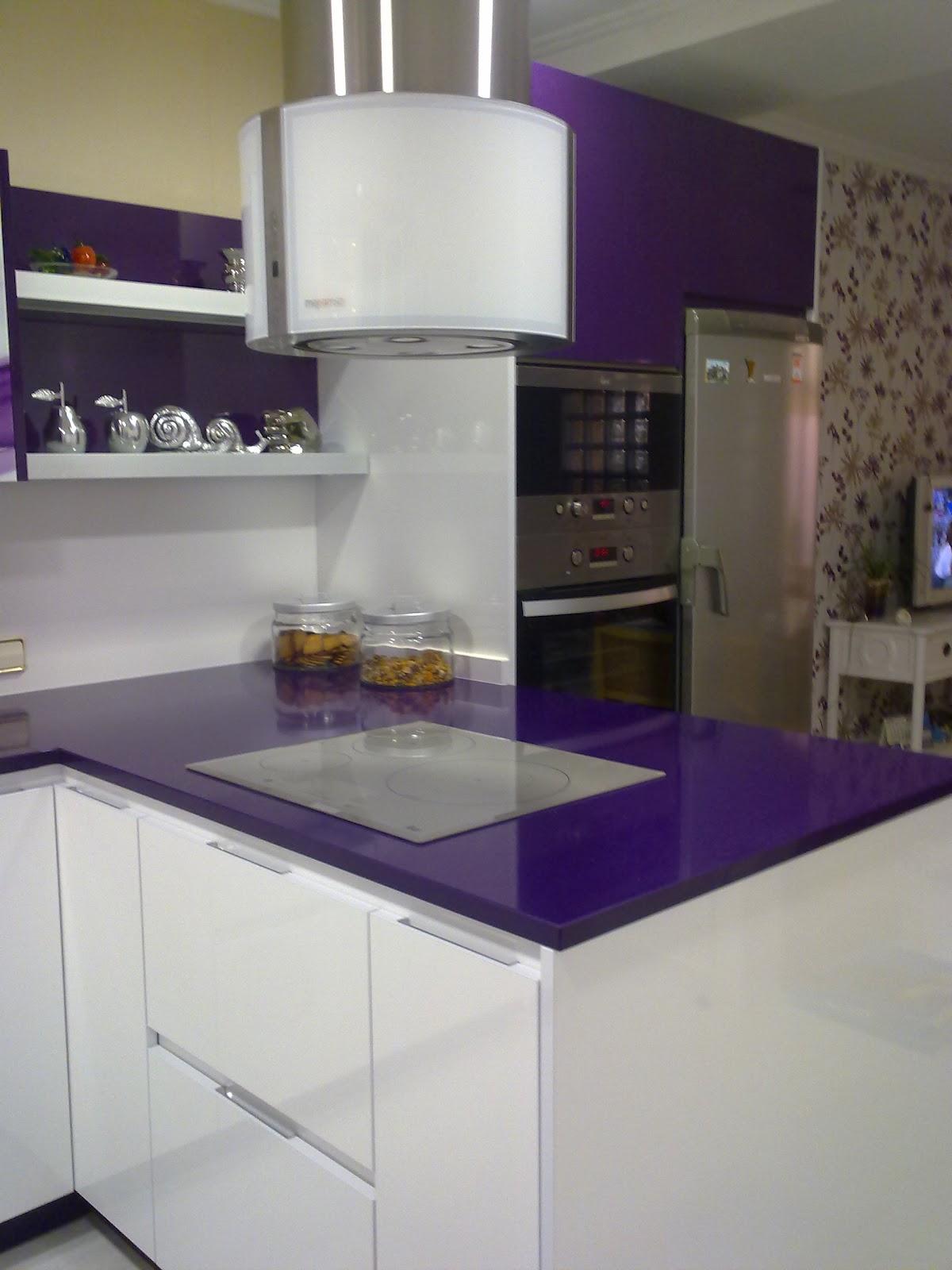Bamb muebles y cocinas cocina dise o moderno morado y - Cocina diseno moderno ...