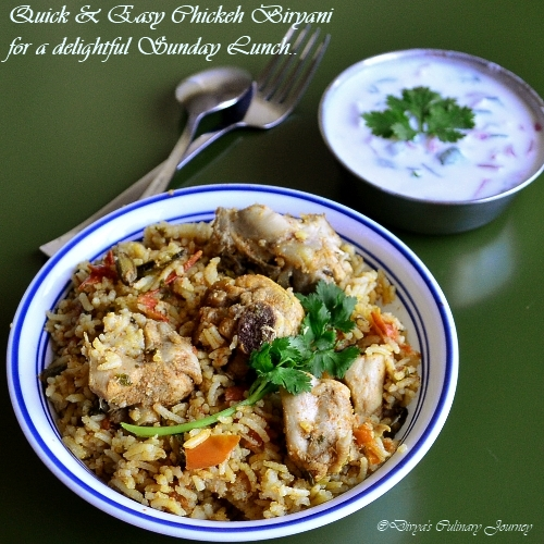 Easy Chicken Biryani Recipe , Pressure Cooker Chicken Biryani