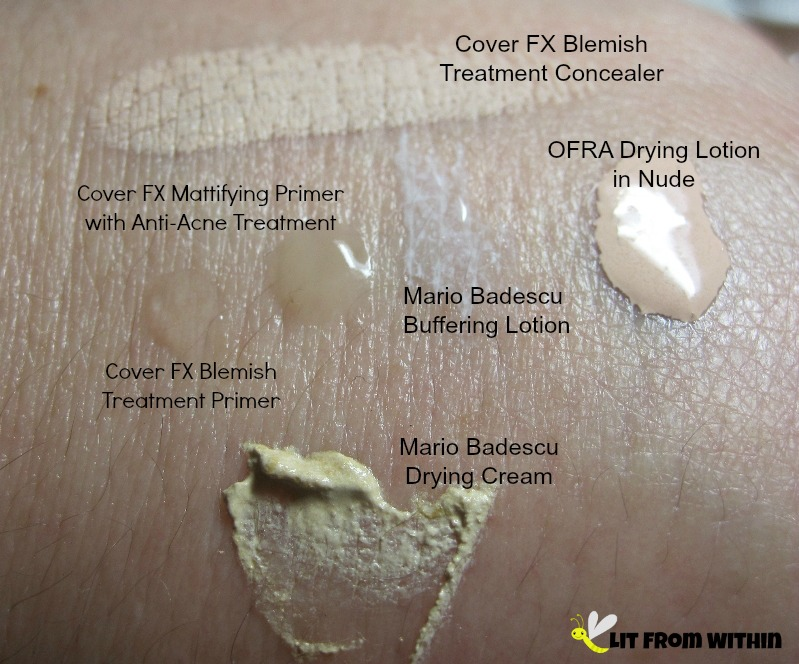 swatches of blemish-fighting makeup and treatments from Cover FX, OFRA, and Mario Badescu