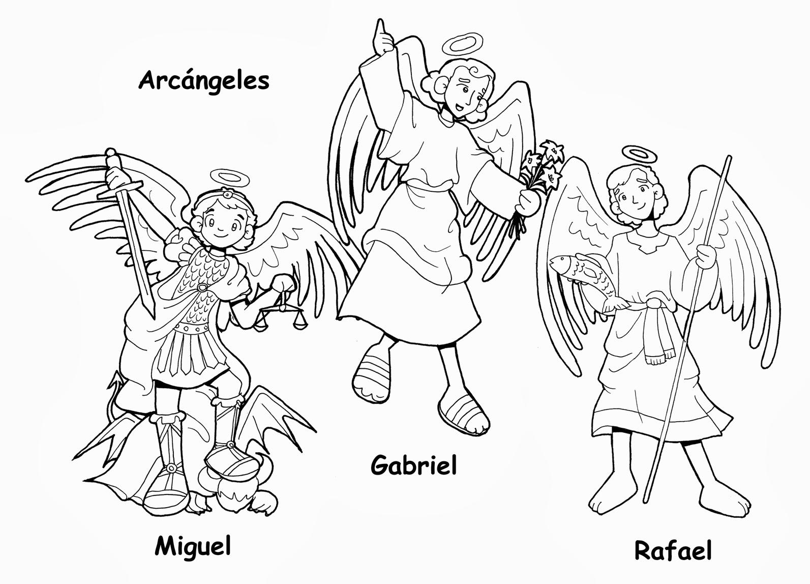Dibujos para catequesis: SANTOS ARCÁNGELES MIGUEL, GABRIEL Y RAFAEL