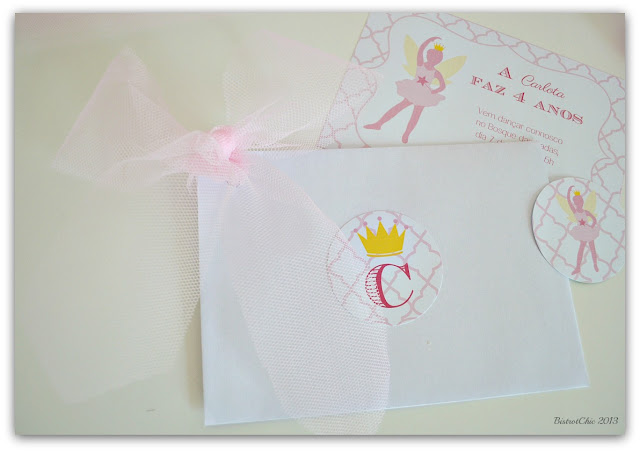 Personalised Fairy Ballerina party invitations and envelopes from BistrotChic