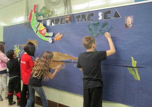 Students Paint Under the Sea Bulletin Board