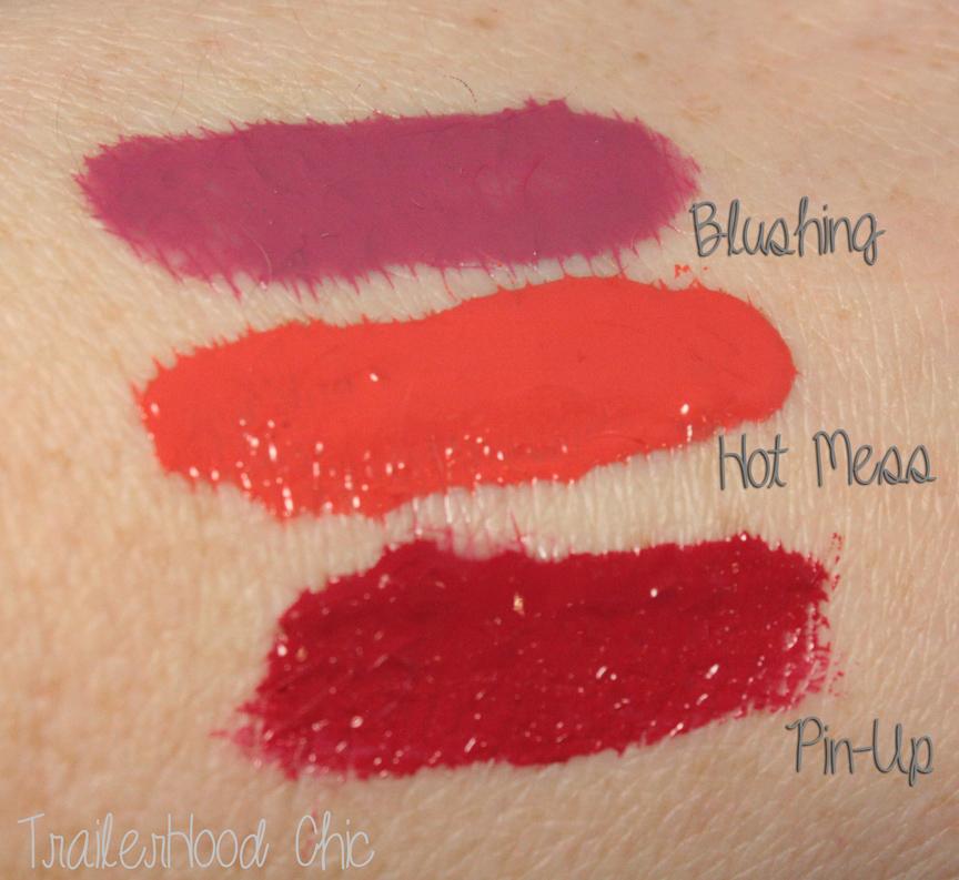 la girl glazed lip paint swatches blushing hot mess pin up