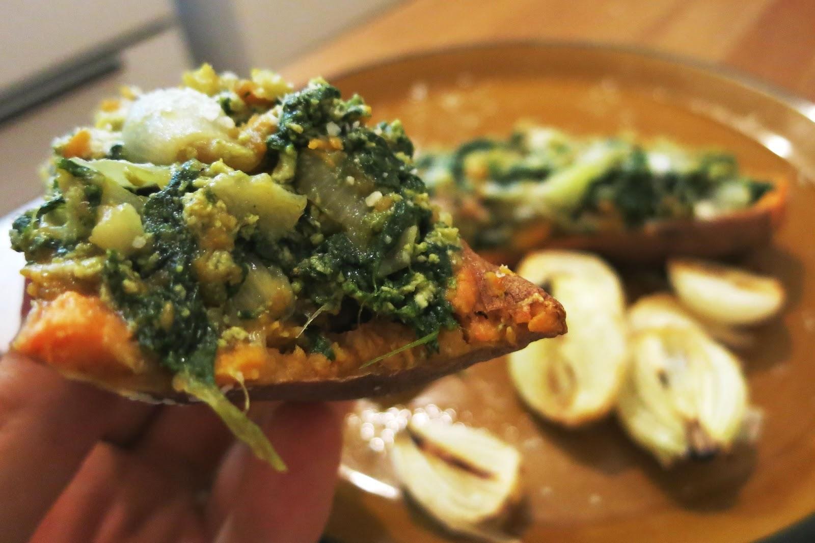 Spinach and Garlic Scramble Sweet Potato Boats
